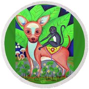 Chihuahuaw/monkie Round Beach Towel