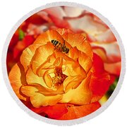 Chihuly Rose With Bee Round Beach Towel