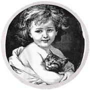 Child & Pet, 19th Century Round Beach Towel