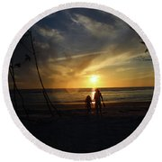 Child And Grandmother At Ft Desoto Round Beach Towel