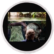 Child And Ray Fish In Paludarium Round Beach Towel