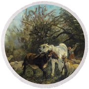 Child And Sheep In The Country Round Beach Towel