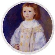 Child In A White Dress Lucie Berard 1883 Round Beach Towel