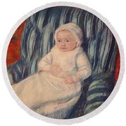 Child On A Sofa Round Beach Towel