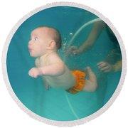Child Swims Underwater  Round Beach Towel