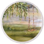 Childhood Memories Round Beach Towel
