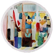 Children At The Greengrocers I Round Beach Towel