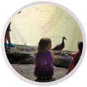 Children At The Pond 1 Round Beach Towel