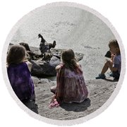Children At The Pond 2 Round Beach Towel