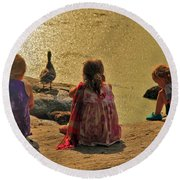 Children At The Pond 4 Round Beach Towel