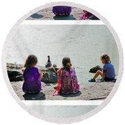 Children At The Pond Triptych Round Beach Towel