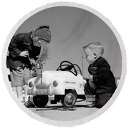 Children Play At Repairing Toy Car Round Beach Towel
