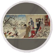 Children Playing In The Snow Under Plum Trees In Bloom Round Beach Towel