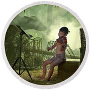 Children Playing Violin In The Folk Style. Round Beach Towel