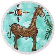 Childrens Nursery Art Original Giraffe Painting Playful By Madart Round Beach Towel