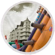 Childrens Play Areas Contrast With The Victorian Elegance Of The Grand Hotel In Llandudno Wales Uk Round Beach Towel