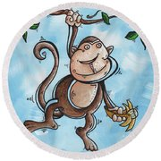 Childrens Whimsical Nursery Art Original Monkey Painting Monkey Buttons By Madart Round Beach Towel