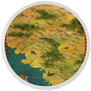 Chile And Argentina With The Magellan Strait Round Beach Towel
