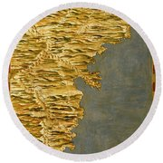 Chile And Argentina With The Strait Of Magellan Round Beach Towel