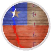 Chile Rustic Map On Wood Round Beach Towel