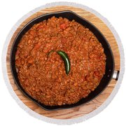 Chili In Black Pan On Wood Table With Jalapeno Pepper Round Beach Towel