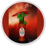 Chili Pepper, Coriander And Peri-peri By Kaye Menner Round Beach Towel