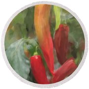 Chili Peppers Round Beach Towel