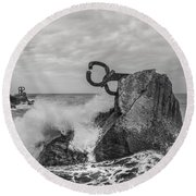 Chillidas Comb Of The Wind In San Sebastian Basque Country Spain  Round Beach Towel