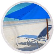 Chilling On The Beach Anguilla Caribbean Round Beach Towel