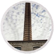 Chimney Of An Old Factory Round Beach Towel
