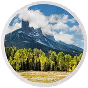Chimney Rock Autumn Round Beach Towel
