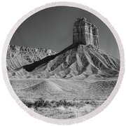 Chimney Rock In Black And White - Towaoc Colorado Round Beach Towel