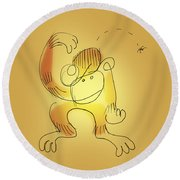 Chimp And Bug Round Beach Towel