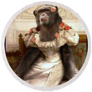 Chimp In Gown  Round Beach Towel