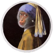 Chimp With A Pearl Earring Round Beach Towel