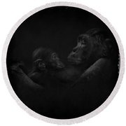 Chimpanzees, Mother And Baby Round Beach Towel