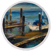 China Basin Docks Round Beach Towel
