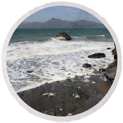 China Beach With Outgoing Wave Round Beach Towel