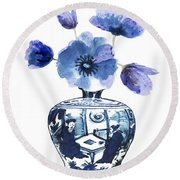 China Blue Vase  With Poppy Flower Round Beach Towel