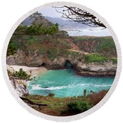 China Cove At Point Lobos Round Beach Towel by Charlene Mitchell