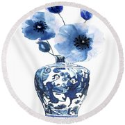 China Ming Vase With Flower Round Beach Towel