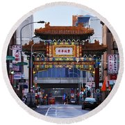 Chinatown - Philadelphia Round Beach Towel by Bill Cannon