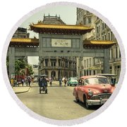 Chinatown Chevy  Round Beach Towel