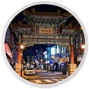 Chinatown In Philadelphia Round Beach Towel