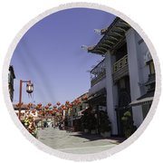Chinatown Shops Round Beach Towel