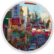 Chinatown Street Scene Round Beach Towel