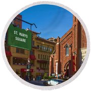 Chinatown View From St. Mary's Square Round Beach Towel