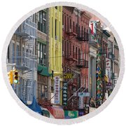 Chinatown Walk Ups Round Beach Towel