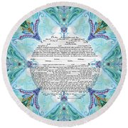 Chinease Ketubah- Reformed And Interfaithversion Round Beach Towel