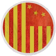 Chinese American Flag Vertical Round Beach Towel